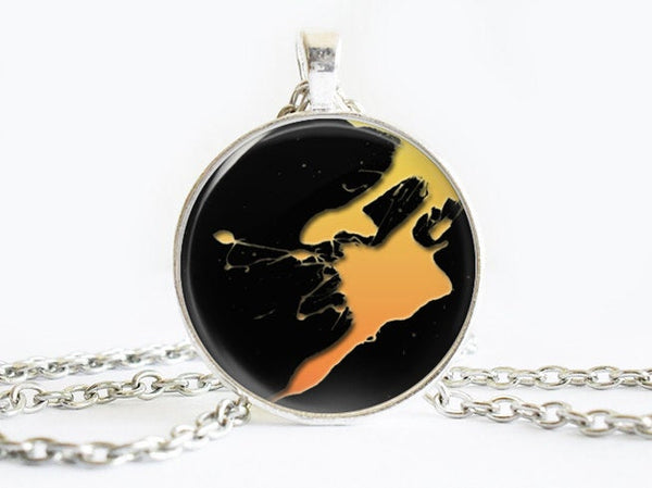Yellow Splash Paint necklace, Art Paint Pendant, Art Paint Photo Image necklace, Birthday Gift, Yellow Black, Gift for Women, Paint necklace