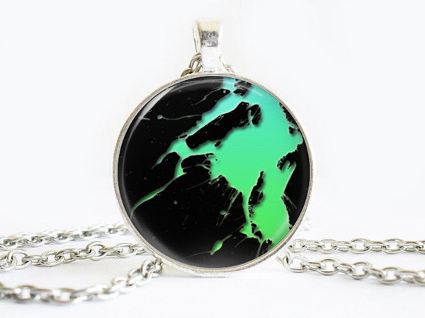 Turquoise and Green Splash Paint necklace, Art Paint Pendant, Art Paint Photo Image necklace, Green Black, Gift for Women, Paint necklace