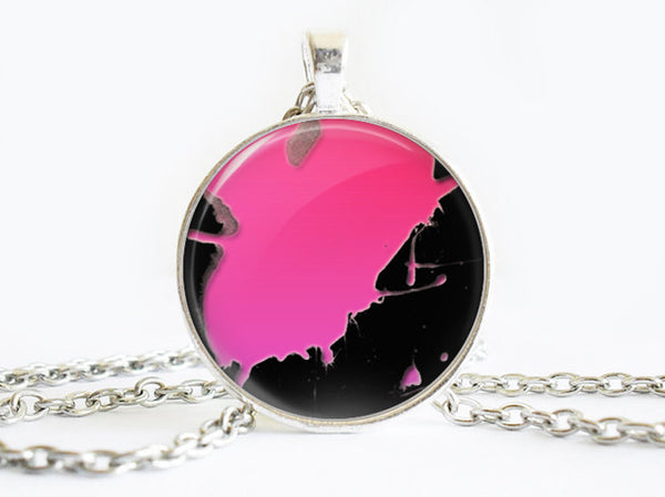 Pink Splash Paint necklace, Art Paint Pendant, Art Paint Photo Image necklace, Pink Black, Gift for Women, Paint necklace