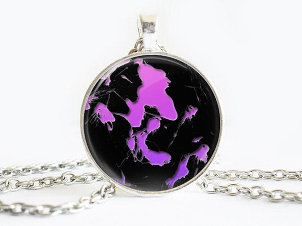 Purple Splash Paint necklace, Art Paint Pendant, Art Paint Photo Image necklace, Purple Black, Gift for Women, Paint necklace