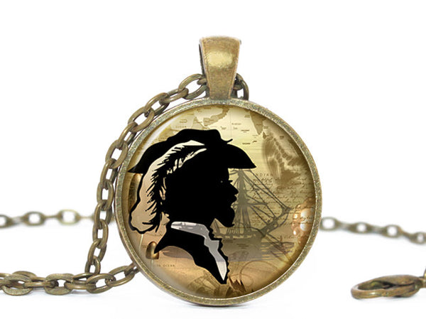 Vintage Gentleman Necklace, Victorian Fashion Necklace, Vintage Necklace, Male Fashion Necklace, Male Silhouette necklace, Feather Necklace