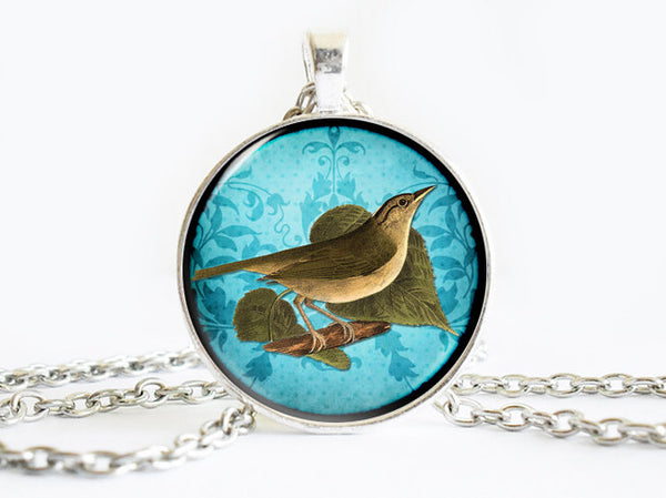 Green Bird on a leaf Necklace, Bird necklace,animal necklace, Bird Art Pendant, Bird pendant, Blue pendant, animal charm, gift for women
