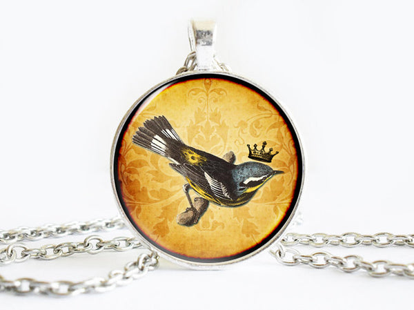 Black Yellow Crowned Bird on a branch Necklace, Bird necklace,animal necklace, Crown Pendant, Bird pendant, Yellow pendant, gift for women