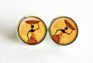African Lady Studs, African basket Earrings, Orange Africa post Earrings, African Lady Studs, African earrings, Africa studs, Gift for women