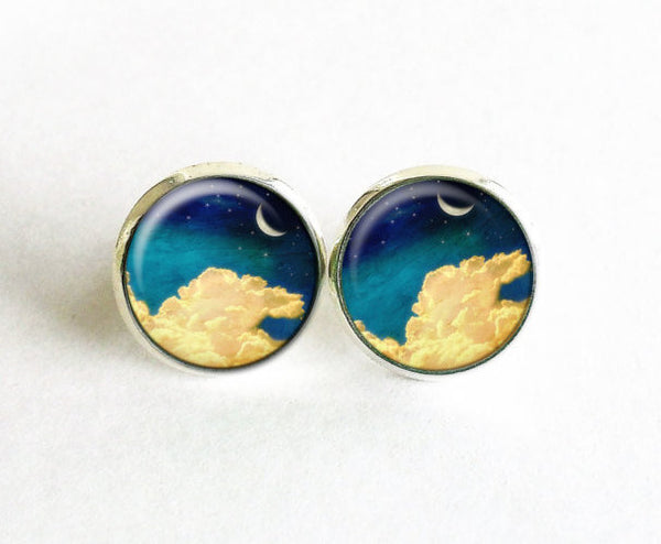 Crescent Moon earrings, Yellow Clouds stud earings, Night earrings, Moonlight Night Sky studs, Yellow Blue earrings, Clouds stud earrings