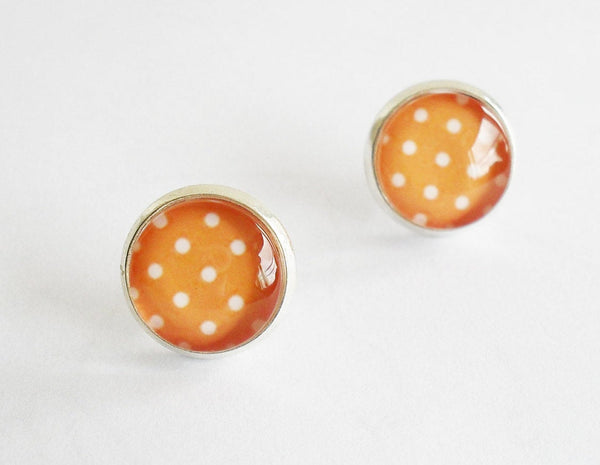 Stud earrings, Orange and white polka dot studs, retro earrings,Orange White polka dot earrings, Retro earrings, Digital art earrings