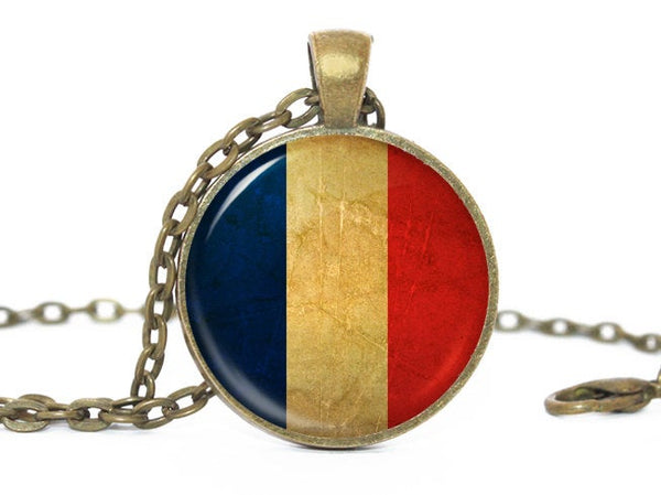 French Flag Pendant Necklace, Bronze Pendant, Patriotic Jewelry, French Flag Jewelry, French Pendant, France Flag Necklace, France necklace