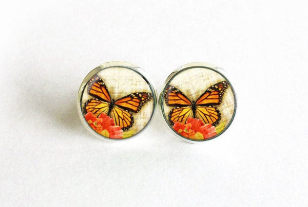 Butterfly Studs, Little Butterfly Earrings, Orange Butterfly post Earrings, Orange Red Studs,Animal earrings, Flower studs, Gift for women