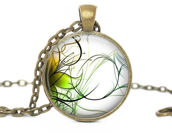 Green And Yellow Swirl necklace, Green And Yellow Swirl pendant, Swirl Charm, Green Yellow Swirl Charm, Swirl Necklace, Swirl Pendant
