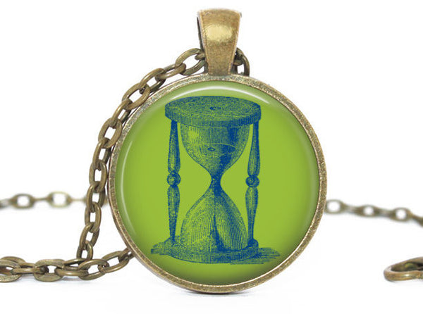Hourglass Necklace, Sand glass pendant, Green charm, Blue Sand glass Charm, Hourglass charm,Photo Charm, Vintage SandGlass, Gift for women