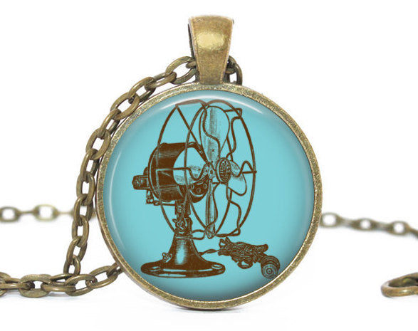 Brown Electric Fan Necklace, Brown Ventilator pendant, Blue charm,Fan Charm, Electric Fan charm, Brown Ventilator Charm,Vintage Fan necklace