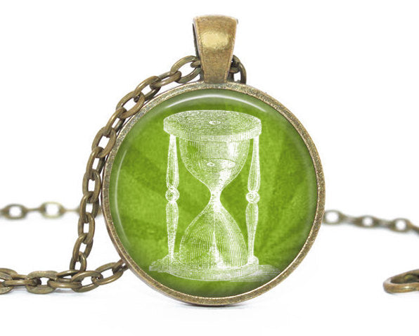 Hourglass Necklace, Sand glass pendant, Green charm, White Sand glass Charm, Hourglass charm,Photo Charm, Vintage SandGlass, Gift for women
