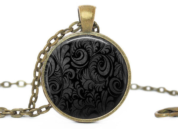 Black and Grey Swirl necklace, Black and Grey Swirl pendant, Black and grey swirl vintage charm,Black and grey swirlCharm,Gift for women