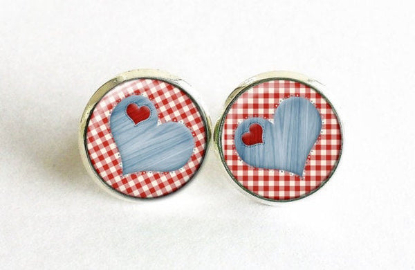 Blue Heart studs, Red heart earrings, Hearts studs, Hearts Post Earrings, Kitchen Cloth earrings, Red Blue White studs, Gift for women