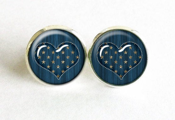 Blue Heart studs, Gold Stars earrings, Hearts studs, Hearts Post Earrings, blue gold earrings, Blue striped studs, Gift for women