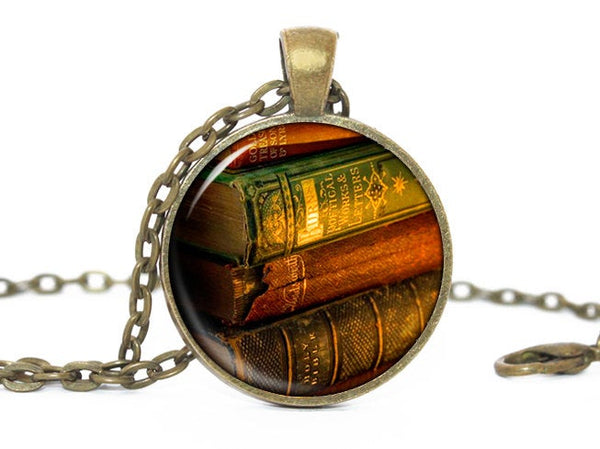 Books Necklace, Little books Pendant, Brown Vintage Books necklace, Librarian Charm,Book Chick pendant, Book Chick charm, Gift for women