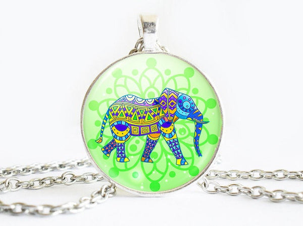 Colourful Elephant necklace, Green pendant, Green Elephant pendant, Green necklace, Green charm, Green Elephant necklace, Elephant charm