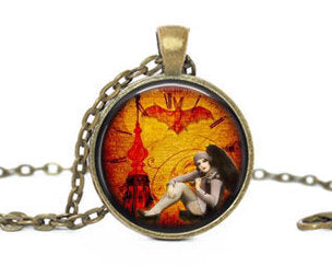 Steampunk 1920s lady necklace, Steampunk  pendant, 1920s lady with bat brass vintage charm, Photo Charm, Steampunk Charm, Gift for women