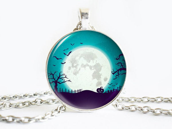 Full moon necklace, Teal Blue necklace, Moon Pumpkin pendant, Trees pendant, Bats necklace, Blue White Charm, Halloween charm, Night Pendant