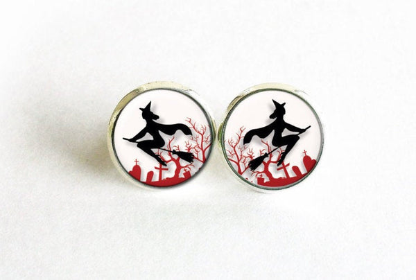 Flying witches studs, White Red Black Earrings, Witch Earrings, Digital art studs, Halloween Stud earrings, Red Castle, Gift for women