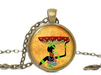 African Woman Necklace, Africa Pendant, Afican Woman with Basket pendant, Yellow neckalce, Africa necklace , Black woman, Gift for Women