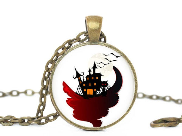 Halloween house necklace, White necklace, Black house pendant, Bats pendant, Halloween pendant, Black White Red Charm, Halloween charm