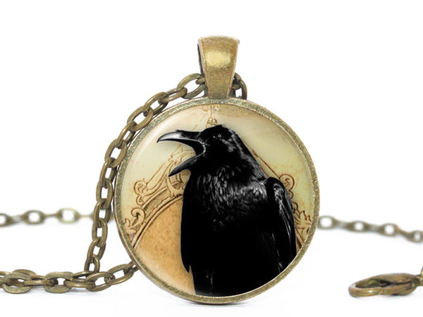 Halloween crow necklace, Beige pendant, Crow charm, Photo Charm, Crow necklace, Halloween charm, Gift for all, Crow Pendant, Black Bird