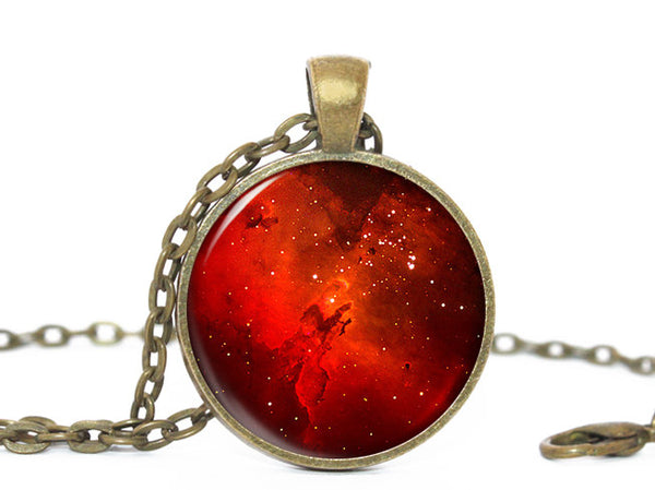 Universe Necklace, Stars Pendant, Red charm, Galaxy Charm, Eagle Nebula Pendant, Nebula pendant, Eagle  Nebula necklace, Red Pendant