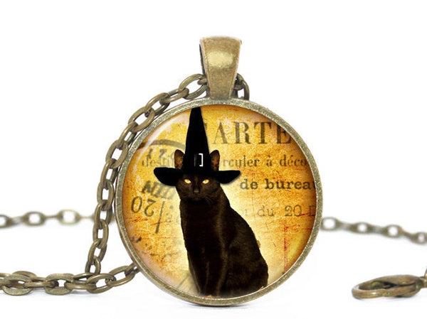 Halloween black Cat necklace, Black Cat Witch Hat Pendant, Orange necklace,Cat Head, Witch Hat charm, Black Orange Charm, Halloween charm