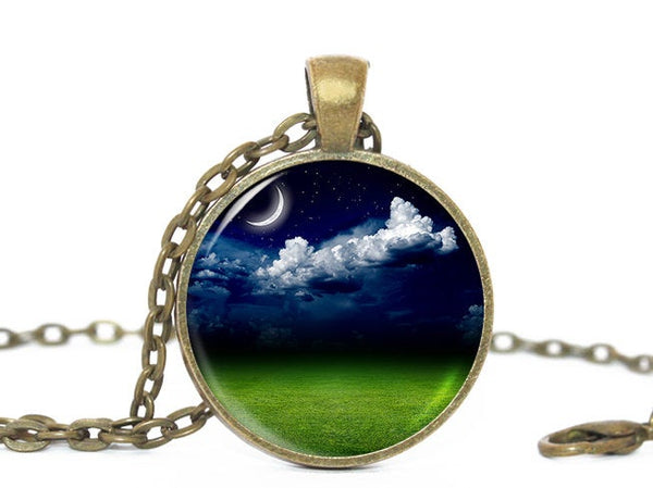 Crescent Moon Necklace, White Clouds Pendant, Night Time Necklace, Moonlight Night Sky Necklace, Blue Green Necklace, Clouds necklace