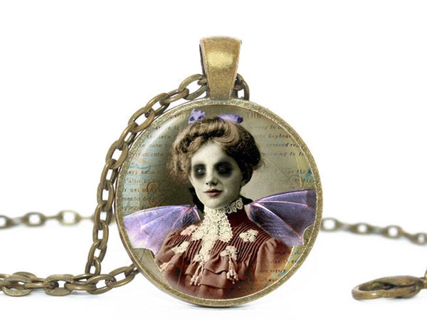 Scary Lady necklace, Brown pendant, Halloween Pendant, Halloween Vampire Necklace, Halloween Lady pendant, Creepy lady Charm, Halloween Gift