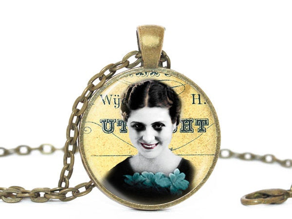Scary Lady necklace, Yellow Black pendant, Halloween Pendant, Black eyes Necklace, Halloween Lady pendant, Creepy lady Charm, Halloween Gift