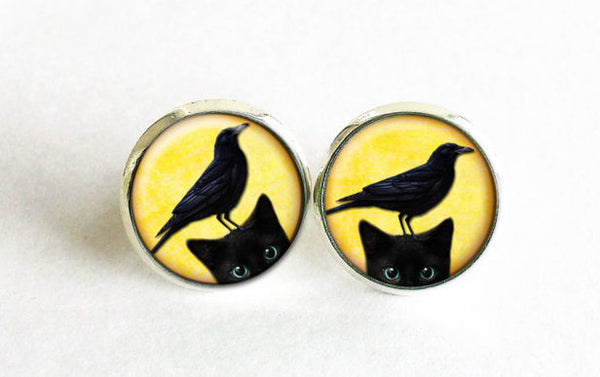 Black Cat with Crow stud earrings, Yellow studs, Black Cat studs, Yellow Black earrings, Animals earrings, Young Cat with Crow studs