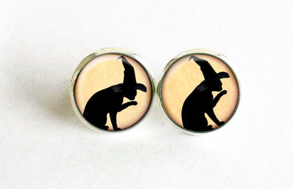 Black Cat with Witch Hat stud earrings, Beige studs, Black Cat studs, Beige Black earrings, Animals earrings, Witch Cat Halloween studs