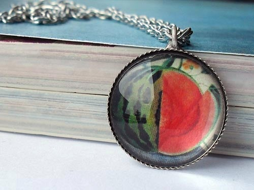 Sliced Watermelon necklace, Melon charm, Melon jewelry, fruit charm, adjustable ring, red green white, watermelon jewelry, Womens' gift