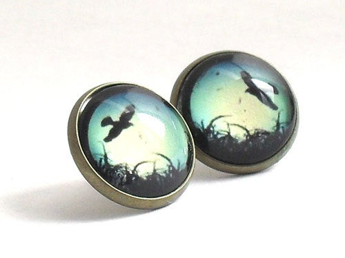 Flying Birds Antique Earrings, Flying Birds antique Studs, Green,  white and black stud earrings, shiny post earrings, grass, Womans Gift