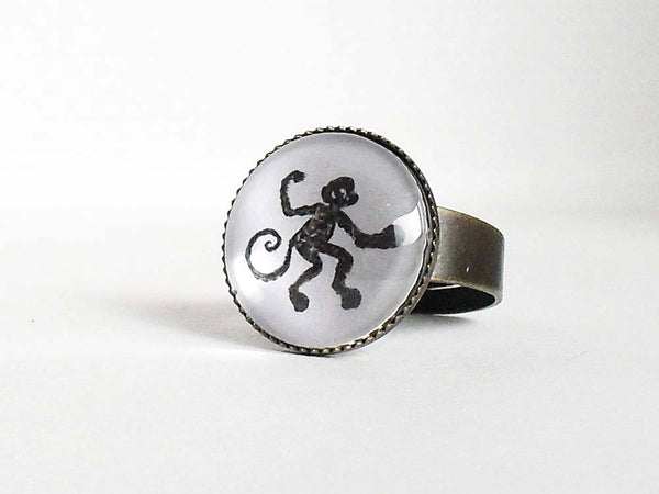 Monkey Ring, Handstamped Ape Ring, antique vintage ring, animal jewelry, adjustable ring,black white, ape ring, ape jewelry,Gift for a Women