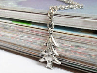 Antique Silver Christmas Tree Necklace, Antique Silver Christmas Tree Pendant, Antique Silver Christmas Tree Charm, Holiday Jewelry, Epsteam