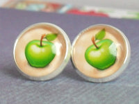 Green Apples Studs, Little Green Apples Earrings, Green Apples Antique post Earrings, Beige Green Studs,fruit Stud earrings, Gift for a girl