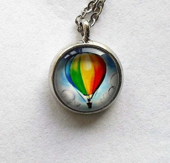 Silver Hot Air Balloon Necklace, Hot Air Balloon Pendant, Hot Air Balloon charm, Red,Yellow,Green,Sky,Balloon, Clouds, gift for Women