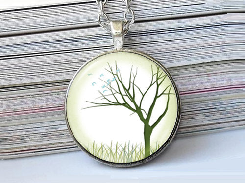 Big Green Tree necklace, Tree Pendant, Nature Photo Image necklace, Birthday Gift, Green White Blue, Gift for Women, Season Gift