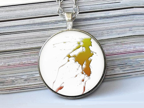 Green and Brown Splash Paint necklace, Art Paint Pendant, Art Paint Photo Image necklace, Green Brown White, Gift for Women, Paint necklace