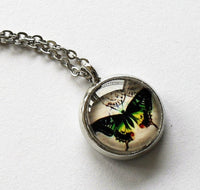 Silver Green with Yellow Butterfly Necklace, Butterfly charm, Butterfly pendant, Butterfly necklace, Animal Necklace, Glass dome pendant