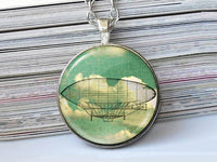 Steampunk Airship necklace, Hot Air Balloon Pendant, Glass dome Pendant, Vintage Airship Image necklace, Yellow Green Grey, Gift for Women