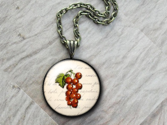 Fruit Red Currants Necklace, Glass Art Pendant, Photo Pendant, Fruit pendant, Vintage fruit pendant, white pendant, vintage food necklace