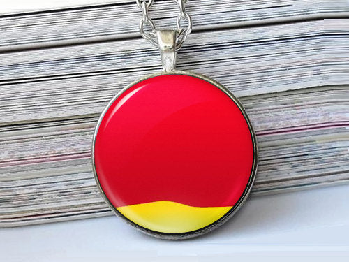 Red and Yellow Picture Charm Necklace, Red and Yellow Picture Necklace, Glass Dome Pendant, Abstract Digital Art in Red,  Photo Pendant