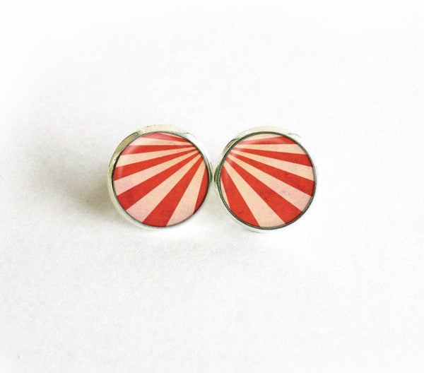 Retro red studs, retro stripes earrings,Red Beige Stripes studs, Carousel studs, Seventies earrings, Seventies studs, Retro studs