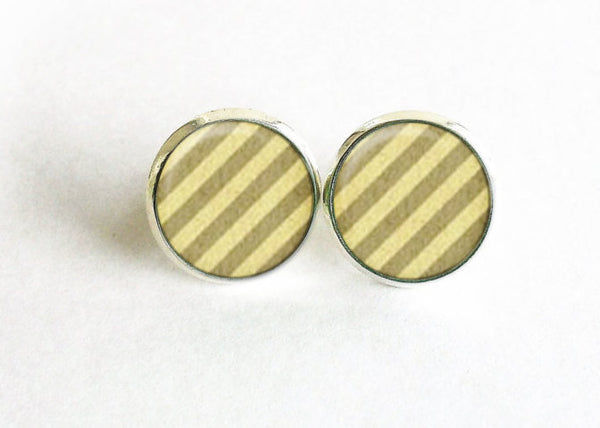 Stud earrings, Green Beige stripes studs, retro beige stripes earrings,Beige Stripes studs, Retro beige stripes studs, Retro beige studs