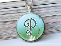 Grunge letter necklace, P, Green Blue Initial Necklace, Blue Green White, Glass Art Pendant,Photo charm, Letter Pendant, Letter charm