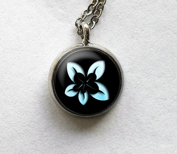 Blue and Black flower Necklace, Blue flower Pendant, Nature Photo Image necklace , Black Blue , Gift for Women, Art Gift jewelry blue flower